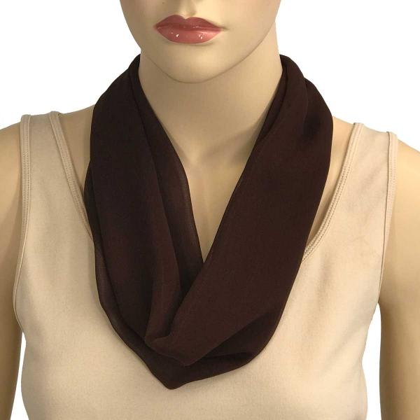 Silky Dress Scarves with Magnetic Clasp Solid Dark Brown (Bronze Magnet) -