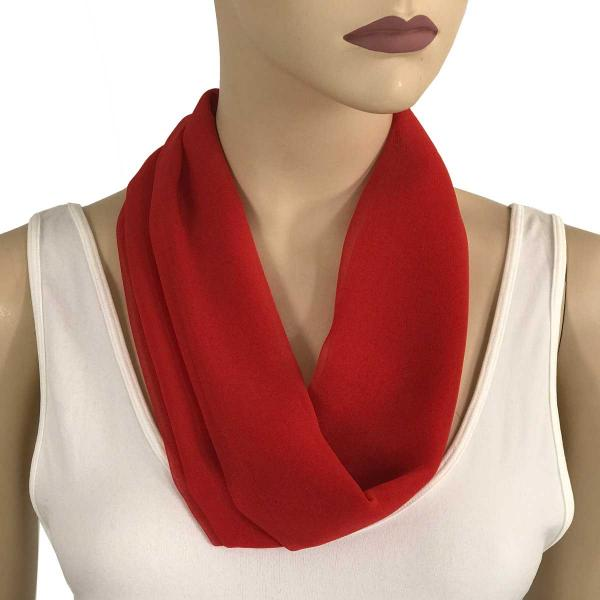 Silky Dress Scarves with Magnetic Clasp Solid Red (Bronze Magnet) -