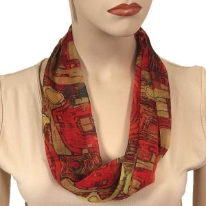 Silky Dress Scarves with Magnetic Clasp #111 Red (Abstract) (Bronze Magnet) -