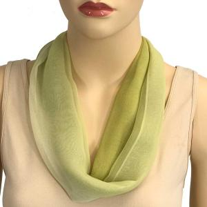 Silky Dress Scarves with Magnetic Clasp #106 Avocado-Sage-Cream (Tri-Color) (Silver Magnet) -