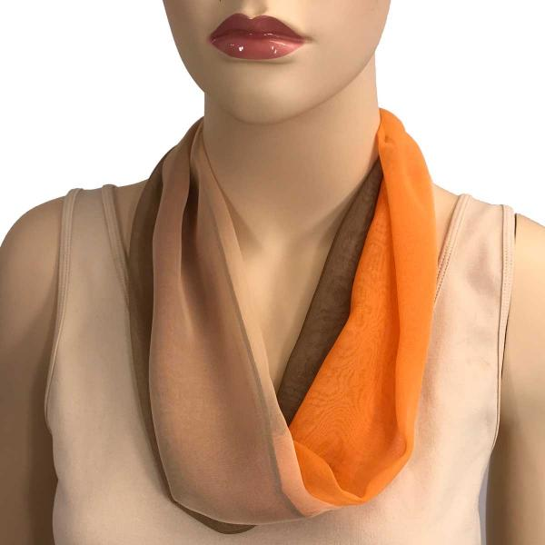 Silky Dress Scarves with Magnetic Clasp #106 Brown-Beige-Orange (Tri-Color) (Bronze Magnet) -