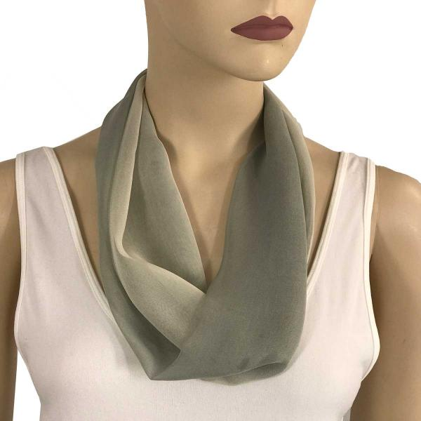 Silky Dress Scarves with Magnetic Clasp #106 Charcoal-Beige-Grey (Tri-Color) (Silver Magnet) -