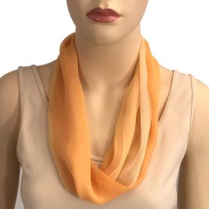 Silky Dress Scarves with Magnetic Clasp #106 Beige-Peach-Orange (Tri-Color) (Silver Magnet) -