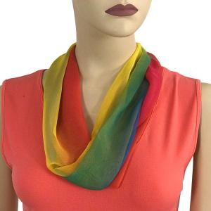 Silky Dress Scarves with Magnetic Clasp #106 Rainbow (Tri-Color) (Silver Magnet) -