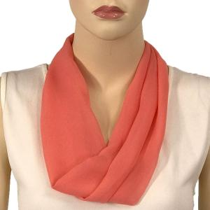 Silky Dress Scarves with Magnetic Clasp Solid Coral (Silver Magnet) -