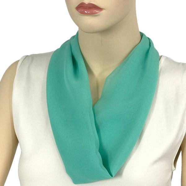 Silky Dress Scarves with Magnetic Clasp Solid Jade (Silver Magnet) -