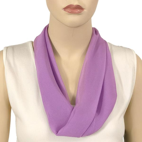 Silky Dress Scarves with Magnetic Clasp Solid Lavender (Silver Magnet) -