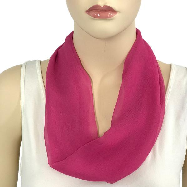 Silky Dress Scarves with Magnetic Clasp Solid Magenta (Silver Magnet) -
