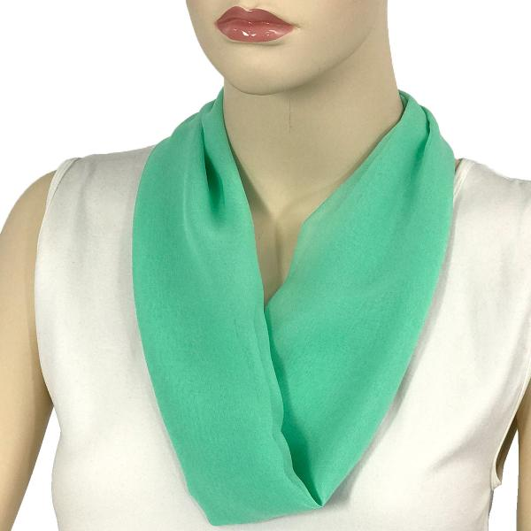 Silky Dress Scarves with Magnetic Clasp Solid Mint (Silver Magnet) -