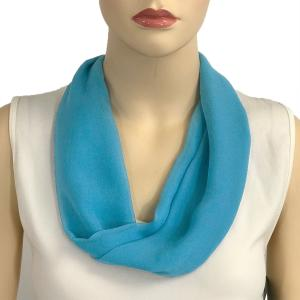 Silky Dress Scarves with Magnetic Clasp Solid Turquoise (Silver Magnet) -