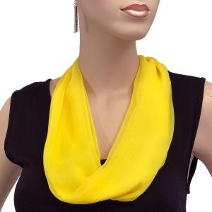 Silky Dress Scarves with Magnetic Clasp Solid Yellow (Silver Magnet) -