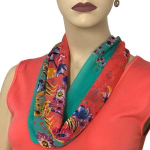 Silky Dress Scarves with Magnetic Clasp #015 Coral (Silver Magnet) -