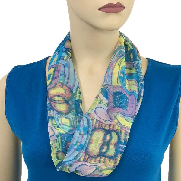 Silky Dress Scarves with Magnetic Clasp #111 Blue (Abstract) (Silver Magnet) -