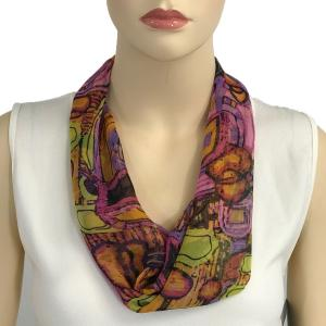 Silky Dress Scarves with Magnetic Clasp #111 Pink (Abstract) (Silver Magnet) -