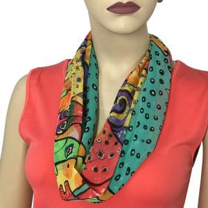 Silky Dress Scarves with Magnetic Clasp #720 Teal (Cats and Dogs) (Silver Magnet) -