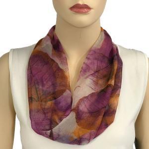 Silky Dress Scarves with Magnetic Clasp #129 Purple (Leaves) (Silver Magnet) -