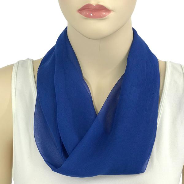 Silky Dress Scarves with Magnetic Clasp Solid Royal (Silver Magnet) -