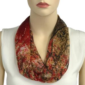 Silky Dress Scarves with Magnetic Clasp #128 Red (Trees) (Bronze Magnet) -