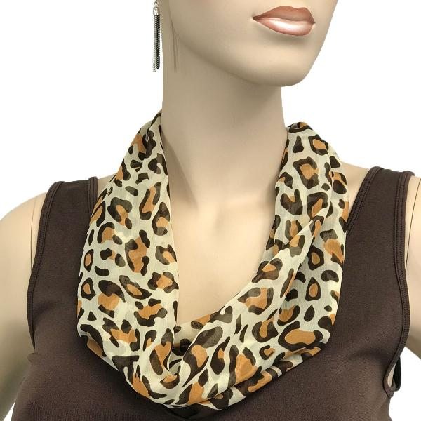 Silky Dress Scarves with Magnetic Clasp #104 Brown (Cheetah) (Bronze Magnet) -