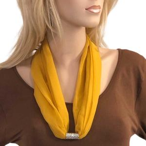 Silky Dress Scarves with Magnetic Clasp Solid Mustard (Bronze Magnet) -