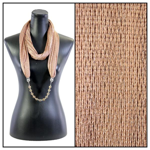 wholesale Infinity Scarves - Metallic w/ Jewelry Fishnet - Taupe (#18) -
