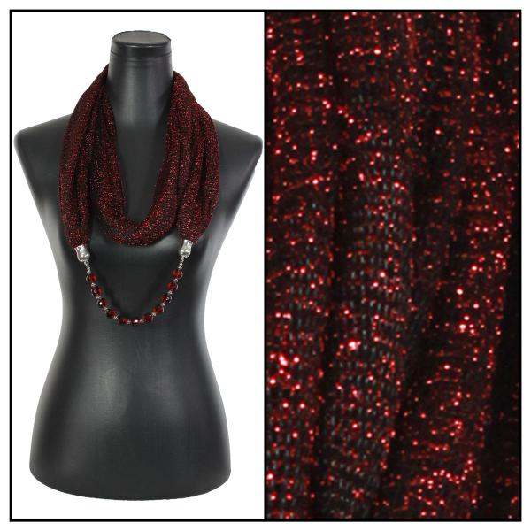 wholesale Infinity Scarves - Metallic w/ Jewelry Mesh - Black-Red -
