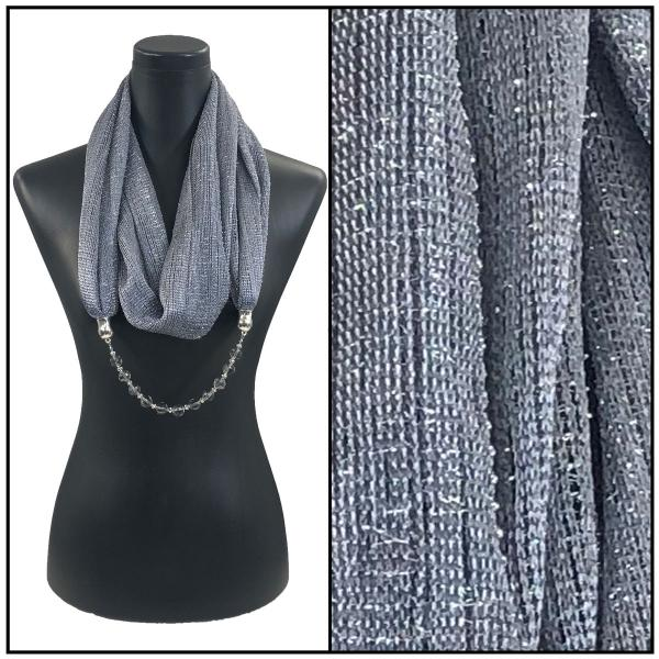 wholesale Infinity Scarves - Metallic w/ Jewelry Mesh - Charcoal -