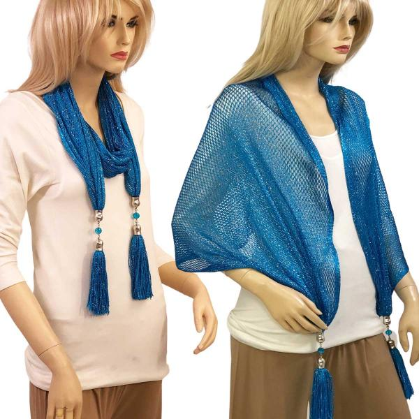 wholesale Oblong Scarves - Metallic w/ Jewelry MFNJ Fishnet - Blue (#10) -