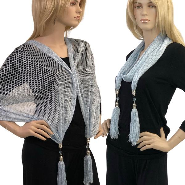 wholesale Oblong Scarves - Metallic w/ Jewelry MFNJ Fishnet - Light Blue (#24) -