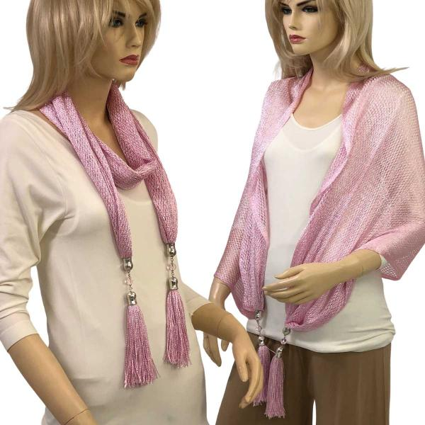 wholesale Oblong Scarves - Metallic w/ Jewelry MFNJ Fishnet - Light Pink (#7) -
