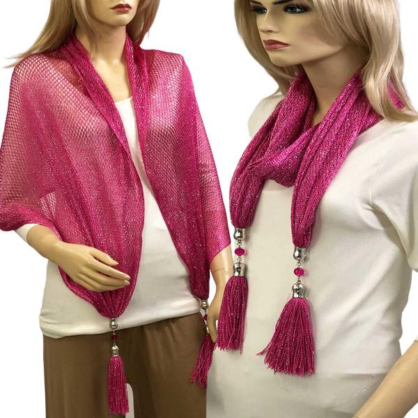 wholesale Oblong Scarves - Metallic w/ Jewelry MFNJ Fishnet - Magenta (#12) -