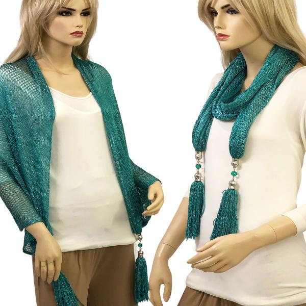 wholesale Oblong Scarves - Metallic w/ Jewelry MFNJ Fishnet - Teal (#8) -