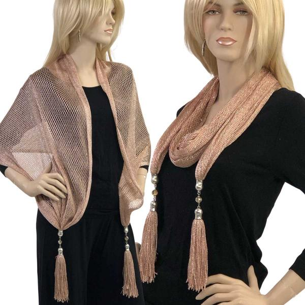 wholesale Oblong Scarves - Metallic w/ Jewelry MFNJ Fishnet - Taupe (#18) -