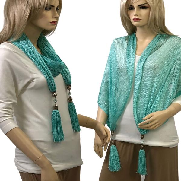 wholesale Oblong Scarves - Metallic w/ Jewelry MFNJ Fishnet - Mint (#17) -