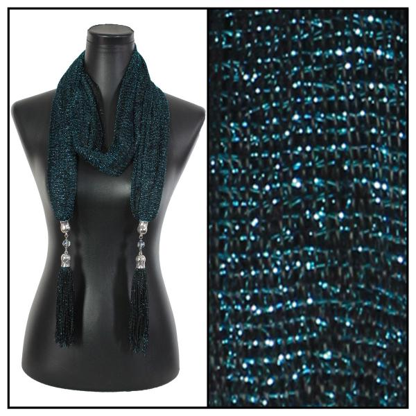 wholesale Oblong Scarves - Metallic w/ Jewelry MFNJ Mesh - Black-Turquoise -