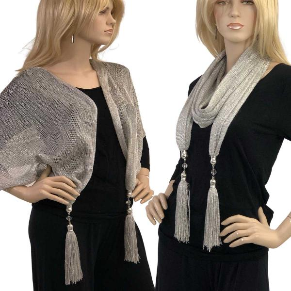 wholesale Oblong Scarves - Metallic w/ Jewelry MFNJ Mesh - Silver Oblong Scarves - Metallic w/ Jewelry MFNJ -