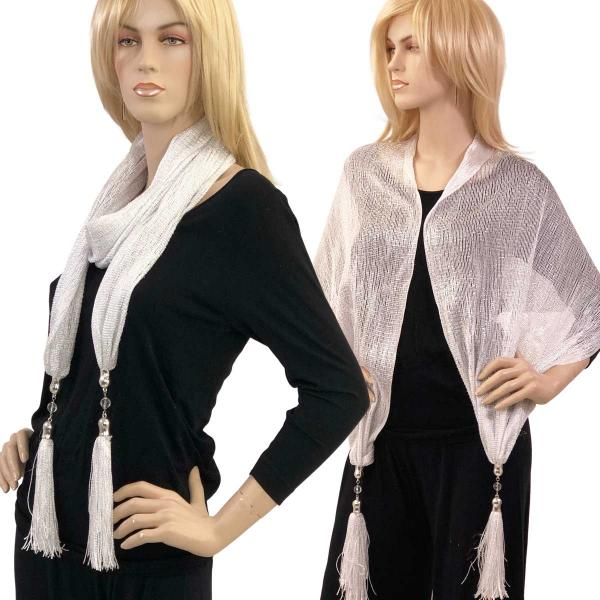 wholesale Oblong Scarves - Metallic w/ Jewelry MFNJ Mesh - Platinum -