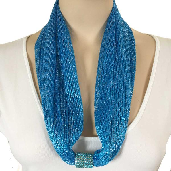 Metallic Scarf with Magnetic Clasp Fishnet - Blue (#10)  -
