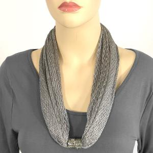 Metallic Scarf with Magnetic Clasp Fishnet - Charcoal (#11) -