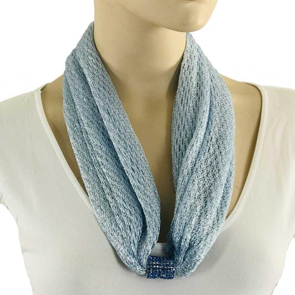 Metallic Scarf with Magnetic Clasp Fishnet - Light Blue (#24)  -