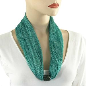 Metallic Scarf with Magnetic Clasp Fishnet - Teal (#8) -