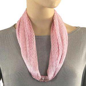 Metallic Scarf with Magnetic Clasp Fishnet - Light Pink (#7) -