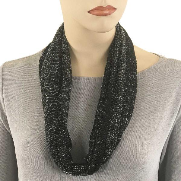 Metallic Scarf with Magnetic Clasp Mesh - Black-Silver -