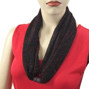 Metallic Scarf with Magnetic Clasp Mesh - Black-Red -