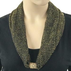 Metallic Scarf with Magnetic Clasp Mesh - Black-Gold -