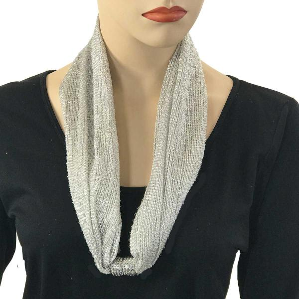 Metallic Scarf with Magnetic Clasp Mesh - Silver -