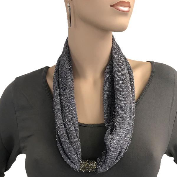 Metallic Scarf with Magnetic Clasp Mesh - Charcoal -