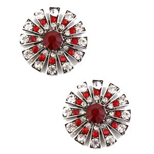 wholesale Magnetic Brooches Starburst Design - Double Sided 408 Red-Clear (Double Sided)  -