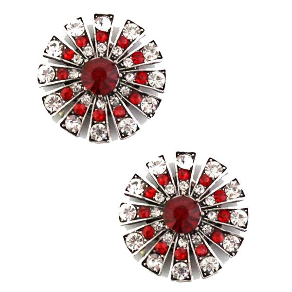 Magnetic Brooches Starburst Design - Double Sided 408 Red-Clear (Double Sided)  -