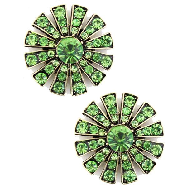Magnetic Brooches Starburst Design - Double Sided 408 Peridot (Double Sided)  -